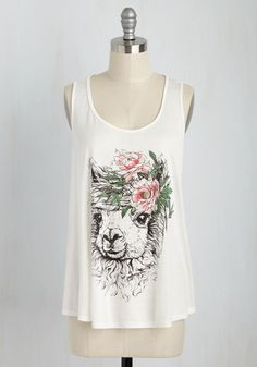 Boho Se Llama? Tank Top - Jersey, Sheer, Knit, White, Multi, Print with Animals, Casual, Boho, Quirky, Festival, Sleeveless, Summer, Scoop, Mid-length, White, Sleeveless, Gifts2015, Lounge, Safari, Critters, Spring