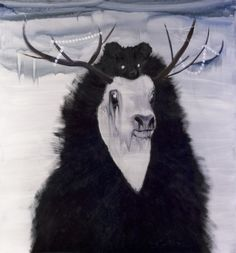 intends to go back to emotions in order to move beyond the rational and embrace a more nuanced, more complex reality Dark Winter, Ragnar, Green And Purple, Animal Pictures, Scandinavian, Contemporary Art, Moose Art, Digital Art, Creatures