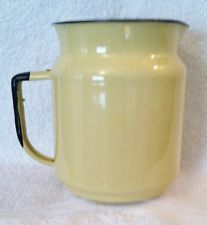 Vintage Enamelware Utility Pitcher solid Yellow With Black trim EUC
