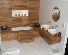 1:12 scale bathroom in zebrano wood