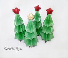 Set 3 Origami Christmas tree, mini Christmas tree, Chritsmas table decoration, Chritsmas table ornament, Red star tree, paper Xmas tree, by TheWorldinpaper on Etsy