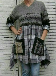 Diy Clothes Refashion, Sweater Refashion, Refashioned Clothes, Upcycled Sweater, Diy Clothes Videos, Clothes Crafts, Party Clothes, Sewing Shirts, Sewing Clothes