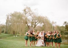 Hunter green bridesmaid dresses from J Crew