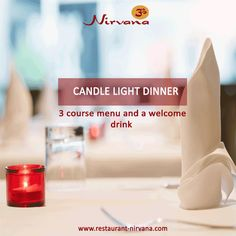 A beautiful and charming #candlelight #dinner with a 3 course #menu and a welcome #drink.