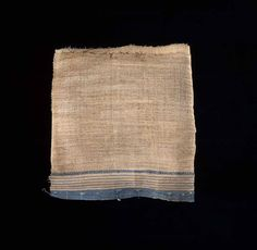 Strip of decorated linen, from Egypt, New Kingdom or later, after 1550 BC. The torn edge of this strip is quite regular, and the linen is of quite good quality. This suggests that it was originally part of a garment which was torn up carefully for use in wrapping a mummy.
