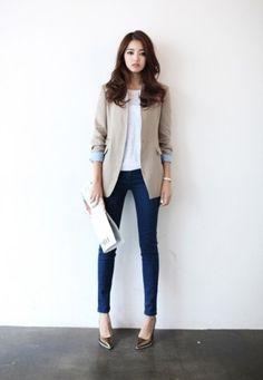 skinny jeans and blazer
