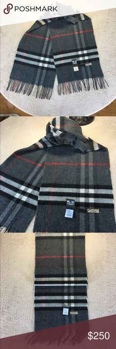 Burberry Classic Cashmere Scarf 100% Cashmere, Rectangular, Fringing at both ends, Made in England. It's came with tags and bag. Burberry Accessories Scarves