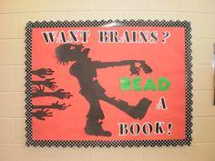 Zombie library bulletin board