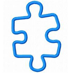 Digi Dolls Puzzle Piece 2 Applique Machine Embroidery Design 4x4 5x7 6x10 autism awareness (email delivery - instant download). $2.00, via Etsy.