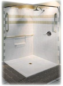 48x48 Barrier Free Access 3 Piece Corner Shower