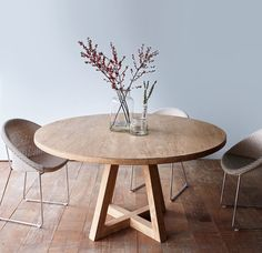Cross Leg Round Dining Table Whitewashed Teak 160                                                                                                                                                     More