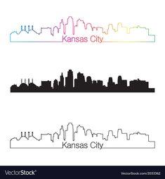Kansas City skyline linear style with rainbow Vector Image , Louisville Skyline, Memphis Skyline, St Louis Skyline, Cincinnati Skyline, Vegas Skyline, Austin Skyline, Kansas City Skyline, Detroit Skyline, Dallas Skyline