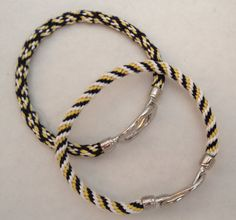 Navy Blue Yellow & White Nautical Kumihimo Braid by AbigailsPAWS, $11.98