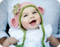 monkey hat, pink and green for girl, blue and green for boy