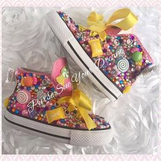 Custom Candyland Birthday Converse Shoes  by PurseSueYourDream  candyland birthday, candy shoppe, bling converse, swarovski shoes, rhinestone converse, rhinestone shoes, custom shoes, first birthday, candy birthday, candy outfit, lollipop outfit, candy party, candyland party