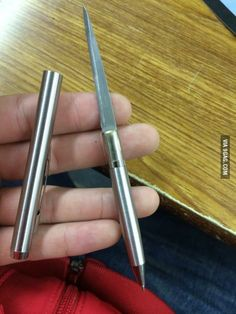 Borrowed a pen from the quiet girl in class. Fiddling with it and discovered the secret compartment.