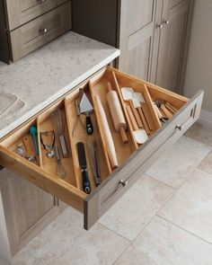 Great ideas for kitchen solutions! Angled drawer dividers make it easy to store longer utensils, like rolling pins, and free up valuable countertop space. Shop more kitchen solutions from Martha Stewart Living at The Home Depot. Kitchen Decor, Farmhouse Kitchen Cabinets, Drawer Dividers, Kitchen Solutions, Diy Kitchen Storage, Kitchen Design, Kitchen Remodel, Kitchen Renovation, Home Decor
