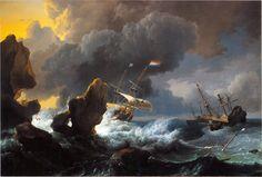 Ludolf Bakhuysen - Schepen in moeilijkheden voor een rotsachtige kust