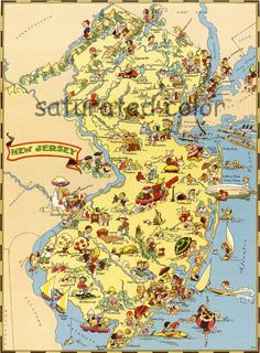 New Jersey - Fun & Colorful Picture Map. $12.99, via Etsy.