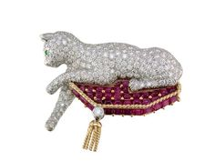 Ruby, Pave Diamond and Emerald Cat on Pillow Brooch in 18K Yellow Gold and Platinum