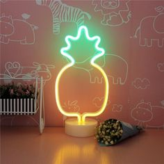 Pineapple Neon Light Signs LED Neon Signs PineappleLamps with Base Room Decor Pineapple Neon Light, Pineapple Lights, Neon Light Signs, Led Neon Signs, Neon Bedroom, Room Tapestry, Teen Room Decor, Luz Led, Neon Lighting