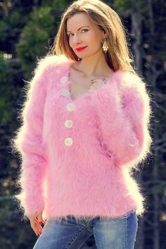 Hand knit pink mohair sweater sexy fuzzy handmade Vneck summer blouse SUPERTANYA #SuperTanya #VNeck