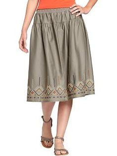 Women's Embroidered Sateen Skirts | Old Navy