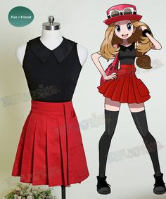 100% handmade Serena Costume from Pokémon Cosplay, including Blouse & Skirt, fast making and shipping.