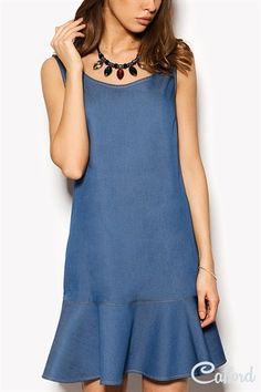 Платье прямого кроя с баской Noa 1504-2401 Синее