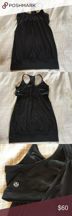 Lululemon No Limits tank black/black camo 8! I keep trying to make this tank happen but my body just is not right for it. Black with black camo No Limits tank from Lululemon. Super rare in this colorway and goes with everything! Size 8. In excellent preowned condition with no pilling or sins of wear. lululemon athletica Tops Tank Tops