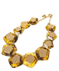 Necklace with pentagonal pieces