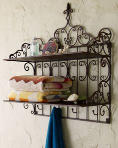 Shop Towel Shelf at Horchow, where you'll find new lower shipping on hundreds of home furnishings and gifts. Towel Shelf, Iron Furniture, Interior Decorating, Interior Design, Iron Decor, Wall Shelves, Shelving, Neiman Marcus, Decoration