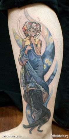 tattoo based on Mucha's The Moon