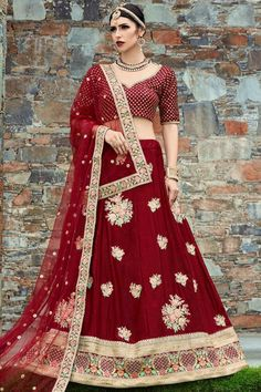 Red art silk semi stitch lehenga with Red art silk choli. This lehenga choli is embellished with zari and sequins work. Product are available in 32 to 58 sizes. It is perfect for Festival Wear,Guest of Wedding Wear, Party Wear, Wedding Wear. #bridallehenga #bridallehengacholi #redlehenga #netlehenga #lehengacholi #weddingwear #partywear #festivalwear Choli Designs, Lehenga Designs, Bridal Lehenga Choli, Silk Lehenga, Indian Bridal Wear, Indian Ethnic Wear, Salwar Kameez, Costumes Anarkali, Eid Outfits