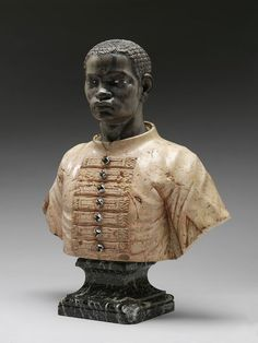 bust of a black youth in livery, anonymous venetian artist, italy (c. 1740s) carved polychrome marble, The Victoria and Albert Museum