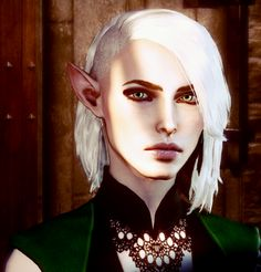 Looks like my Lavellan, but she has short brown hair :P why didn't BIOWARE put in more hair choices >__> I like this...  -__-