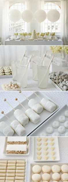 With a sprinkle of powdered sugar, a coating of coconut, have an all white wedding menu for the utmost elegant display.