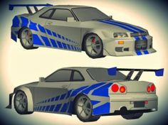 Nissan Skyline GT-R R34 Paper Model - by Dayat Wong - == -   From 2 Fast 2 Furious movie here is the Nissan Skyline GT-R R34, in a really cool paper version created by Indonesian designer Dayat Wong, from Wongday Papercraft website.