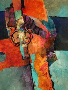 "CAROL NELSON FINE ART BLOG: Mixed Media Abstract Collage, ""Desert Song"" by Carol Nelson Fine Art"