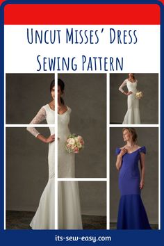 Have you ever tried to sew your own wedding gown or evening dress? No one understands your body better than you. If you want a dress that makes you look great and feel comfortable when you're the center of attraction in an entire room that dress has to be made by you. If you're feeling daring or you have experience making dresses, you can go for the third design which is more detailed and elegant. #dresspatterns#weddinggownpatterns#sewingpatterns#dresssewingpatterns#easysewingpatterns Formal Dress Patterns, Unique Formal Dresses, Lace Dress, White Dress, Evening Dresses, Prom Dresses, Miss Dress, Lace Sleeves, Attraction