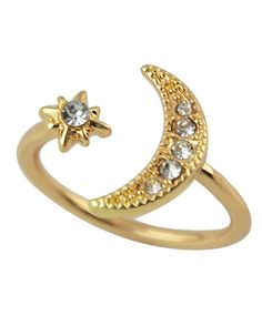 Gold Fashion Rhinestone Moon And Star Women Ring Cuff 1.99
