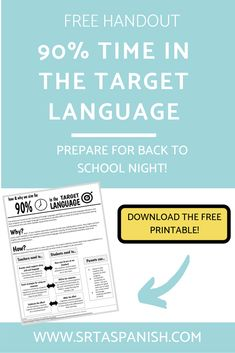 Time in the Target Language Handout - SRTA Spanish Daily Lesson Plan, Spanish Lesson Plans, Free Lesson Plans, Lesson Plan Templates, Spanish Language Learning, Teaching Spanish, Spanish Classroom, Classroom Ideas, Middle School Spanish