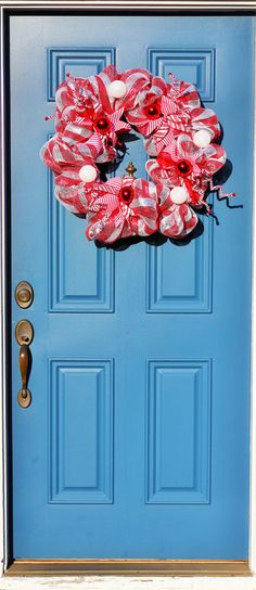 Red White Peppermint Candy Holiday Wreath  Candy by WreathObsessed