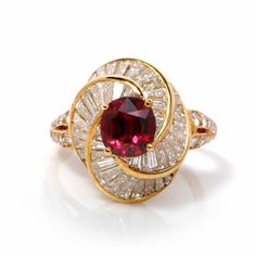 Kurt Wayne 7.45ct Ruby Diamond Gold Ballerina Ring at 1stdibs