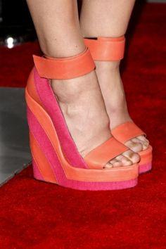 orange pink wedge heels