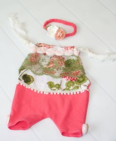 Coral In Love - newborn romper shortall set in coral knit with floral fabric in coral, olive green and peach (RTS) by SoTweetDesigns on Etsy