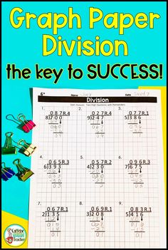 Use these long division graph paper worksheets to use for students to practice long division skills Great for beginners as they learn and practice the traditional algorithm. Teaching Multiplication, Math Fractions, Dividing Fractions, Equivalent Fractions, Math Math, Long Division Strategies, Math Division, Framed Words, Elementary Math