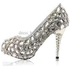 Wholesale Hand Design Top White Crystal Diamond Bride Wedding High-Heeled Shoes Wedding Shoes Size Custom Made, found on polyvore.com