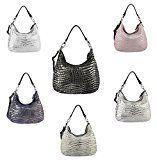 OBC Leder Metallic Damen Tasche Schultertasche Umhängetasche Handtasche Henkeltasche Shopper Hobo-Bag: Made in Italy Schultertasche für die…