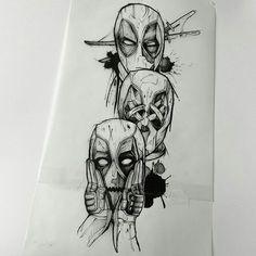 Deadpool Tattoo, Avengers Tattoo, Marvel Tattoos, Sketch Tattoo Design, Tattoo Sketches, Tattoo Drawings, Tattoo Designs, Chicano Art Tattoos, Anime Tattoos